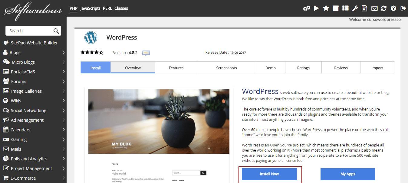 Como instalar WordPress en forma sencilla desde cpanel