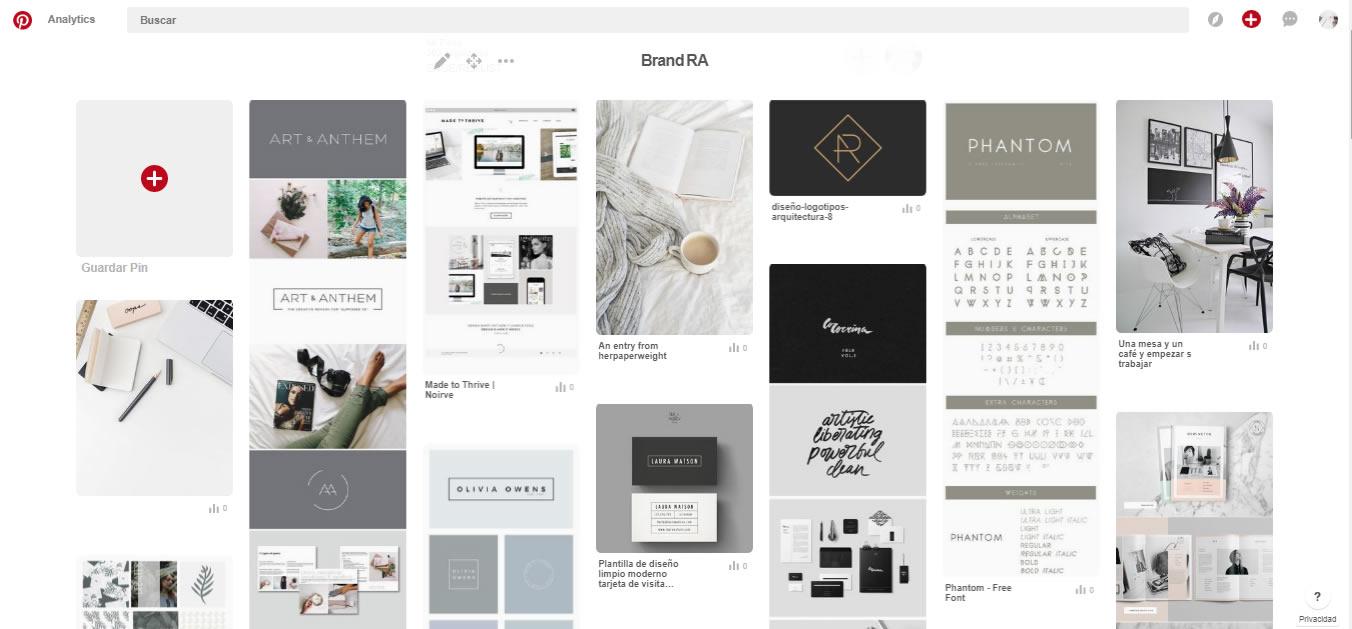 Pinterest- inspiración para crear imagen de marca y sitio web