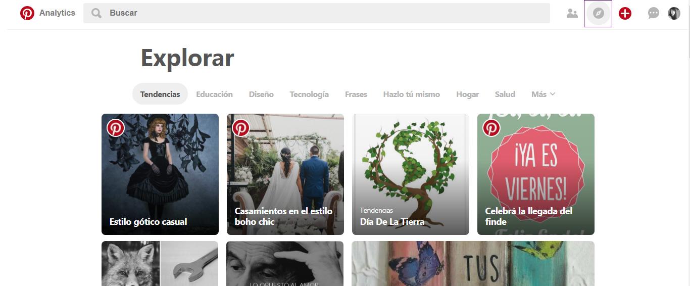 Sección Explorar de Pinterest para encontrar pines populares