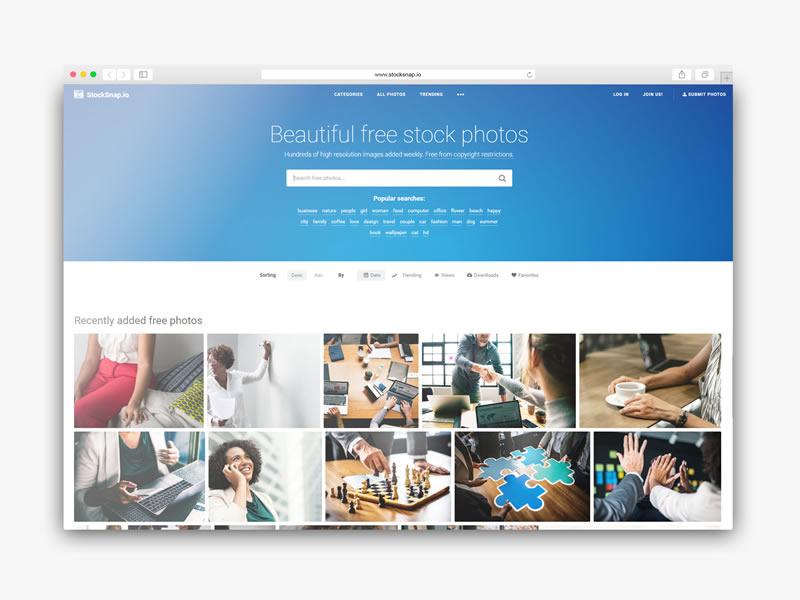 Descargar imagenes gratis para tu web con stocksnap
