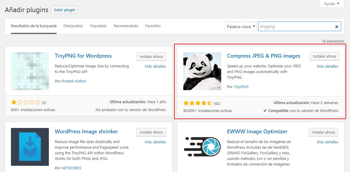 optimizar imagenes para tu web tinypng wordpress